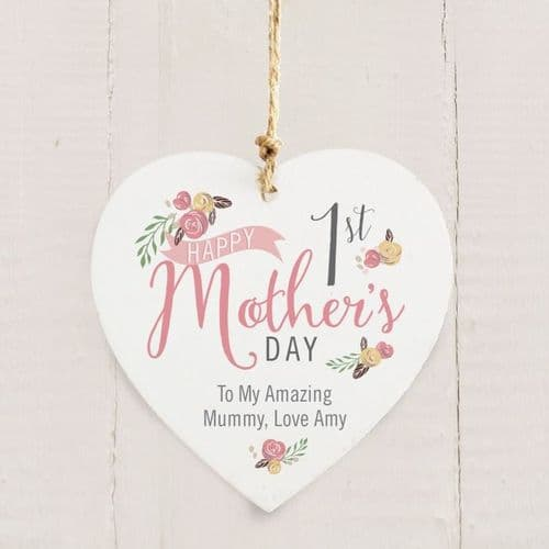 Personalised Floral Bouquet 1st Mothers Day Wooden Heart Decoration