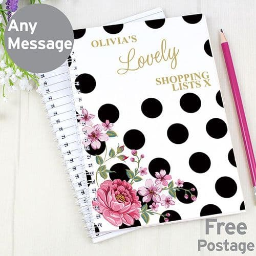 Personalised Floral Dot Notebook