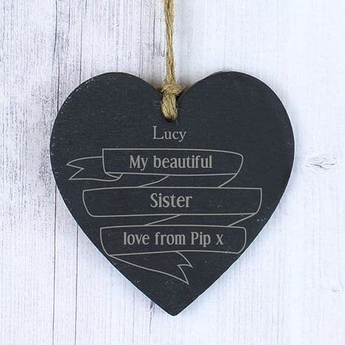 Personalised Garden Bloom Slate Heart
