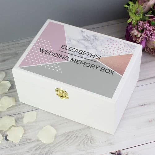 Personalised Geometric White Wooden Keepsake Box