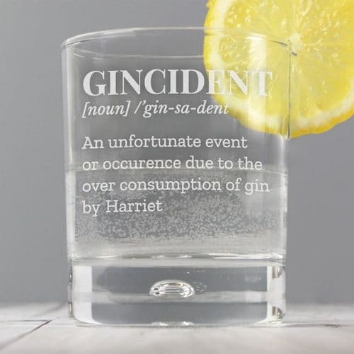 Personalised Gin Tumbler Bubble Glass