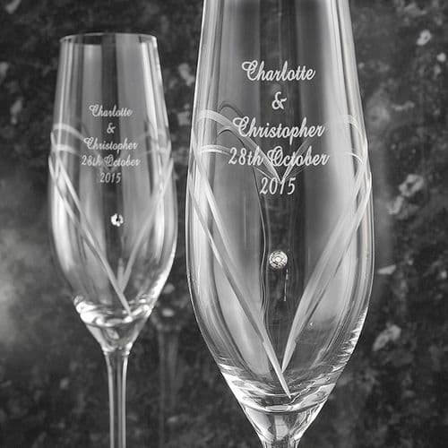 Personalised Hand Cut Heart Flutes with Swarovski Elements