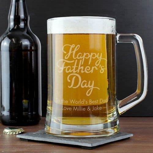 Personalised 'Happy Father's Day' Glass Pint Stern Tankard