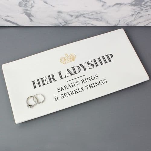 Personalised Her Ladyship Ceramic Trinket Tray