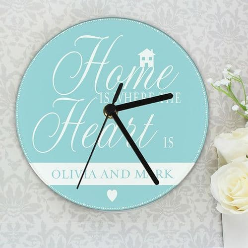 Personalised Home Is Where... Glass Clock