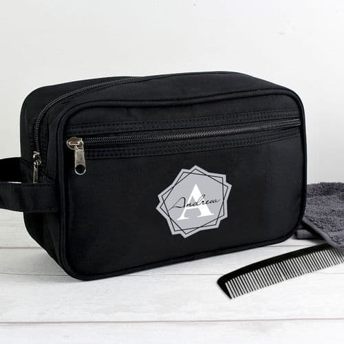 Personalised Initial Black Wash Bag