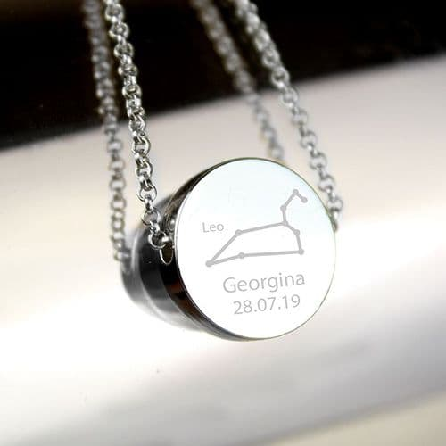 Personalised Leo Zodiac Star Sign Silver Tone Necklace