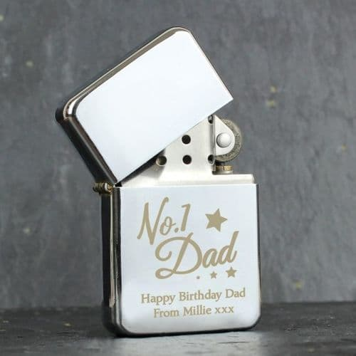 Personalised 'No.1 Dad' Silver Lighter