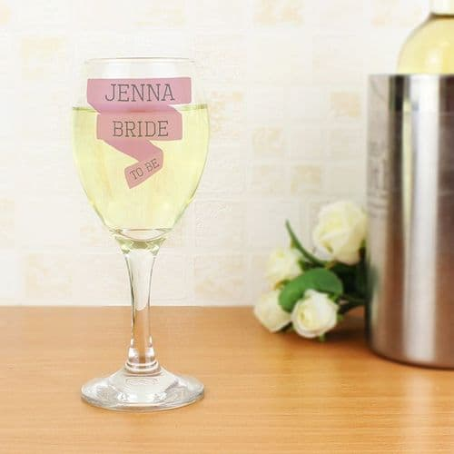 Personalised Pink Banner Wine Glass