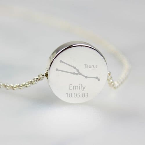 Personalised Taurus Zodiac Star Sign Silver Tone Necklace