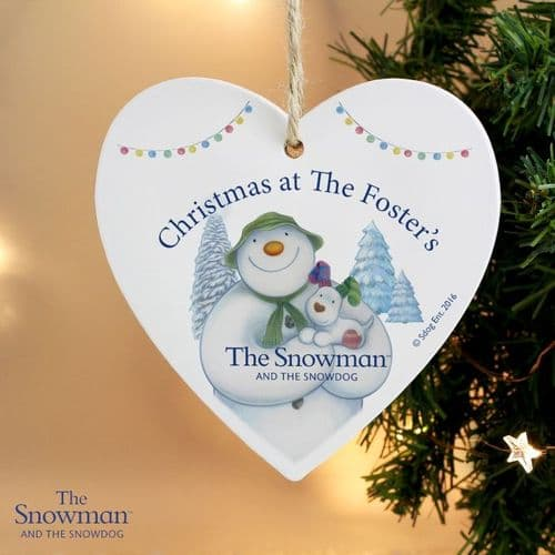 Personalised The Snowman Christmas Heart Decoration