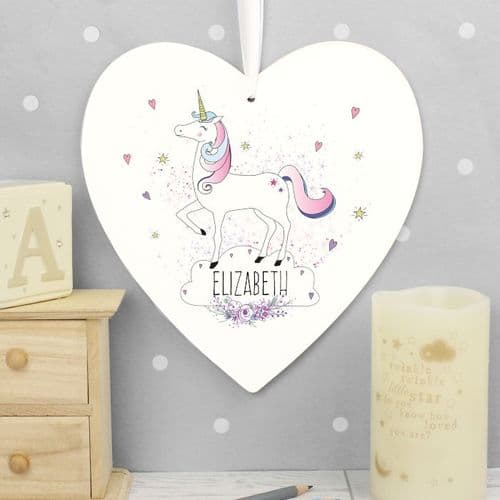 Personalised Unicorn Large White Wooden Heart