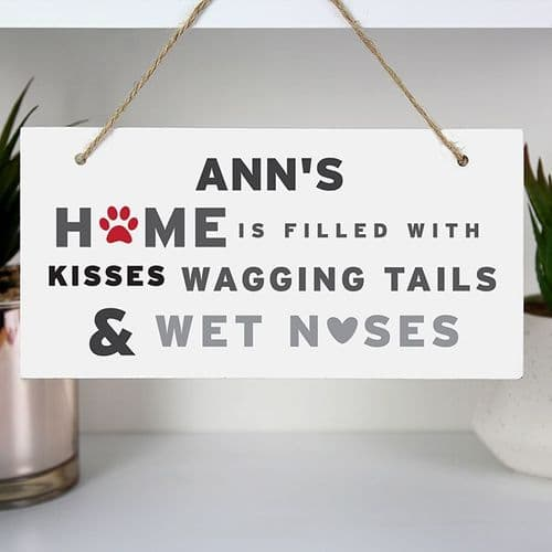 Personalised 'Wagging Tails' Dog Wooden Sign