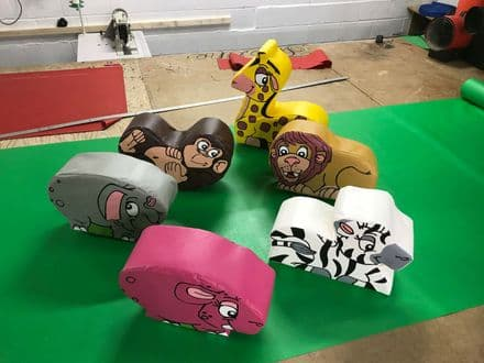 6  x SMALL WILD Animal soft play set ideal soft play add on