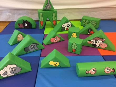 Farm Animals  15 Piece Soft Play Set in a Bag ideal to hire- hire