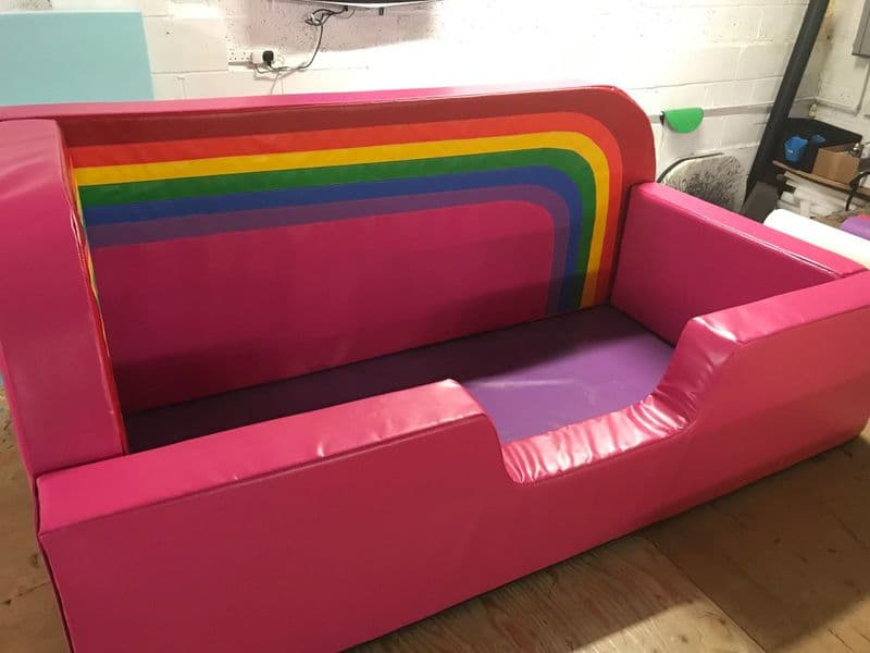 Low Bed Safe Surround Padding  with high back walls Plus RAINBOW )