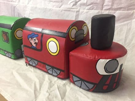 Soft play Train and Carriages, Hand painted both sides, Add more carriages