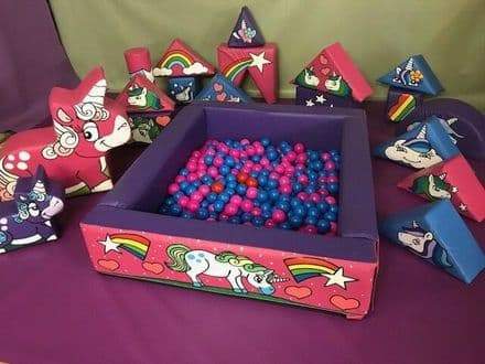 Unicorn 15 set soft play / Ball Pond/ 2 x Unicorns  Hand painted in Bags