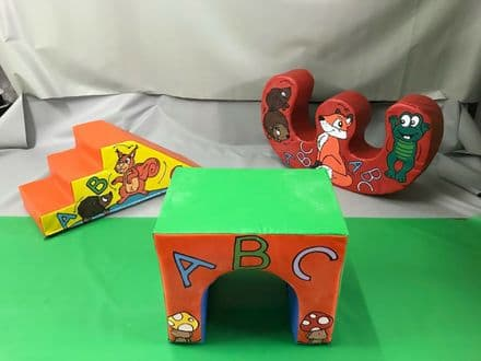 Woodland ABC Set incl. Slide, Rocker and Tunnel. Hand painted