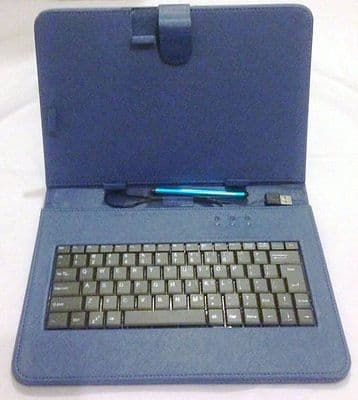 "10 ""Inch PU Leather Blue Case Cover USB Keyboard Stylus with for Android Tablet"