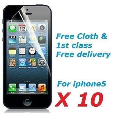 10 X LCD Screen Protector Guard Cover For Apple iPHONE 5 iPhone5 5G + Free Cloth