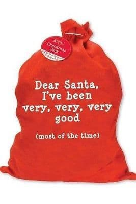 2 x CHRISTMAS SANTA SACK STOCKING SACK -I've Been Very Good