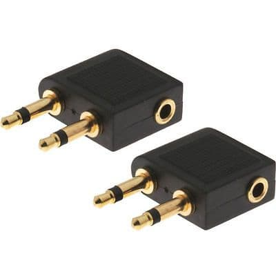 2 x Gold Plated Airplane Headphone Adapter for 3.5mm Plug Jack Socket Converter