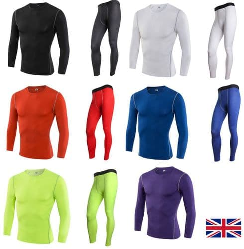 2pcs Compression Mens Long Sleeves Top+Leggings Set Base Layer Sport Gym Cycling