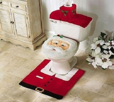 3 Pcs Christmas Decorations Santa Toilet Seat Cover Rug Set