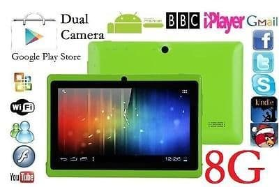 "7"" INCH GREEN DUAL CORE CAMERA ANDROID 4.4 TABLET Allwinner A23 NETBOOK 8G GIFT"