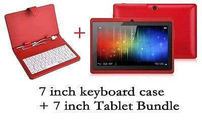 "7"" INCH RED KEYBOARD+7 INCH ANDROID 4.0.4 TABLET Allwinner A13 4G GIFT BUNDLE"