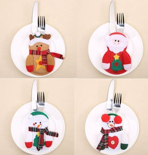 Christmas Cutlery Silverware Holder Folk Bag Santa Snowman Table Dinner Decor UK