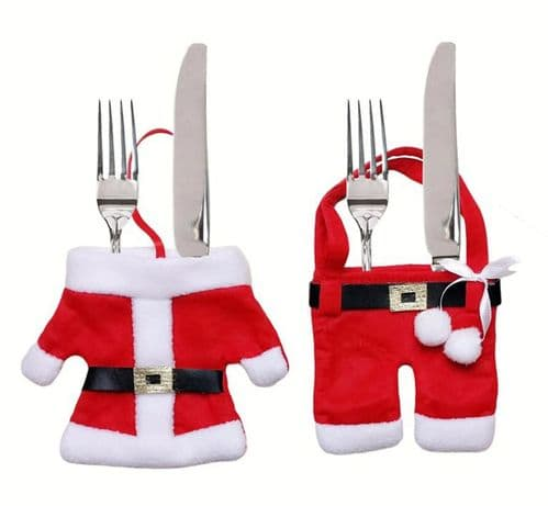 Christmas Cutlery Silverware Holder Folk Bag Santa Table Dinner Decor UK