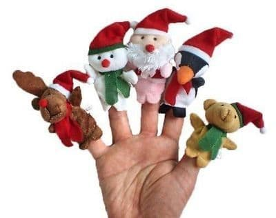 Christmas Santa Snowman Baby Stories Helper /Finger Puppets Toy Doll Gift