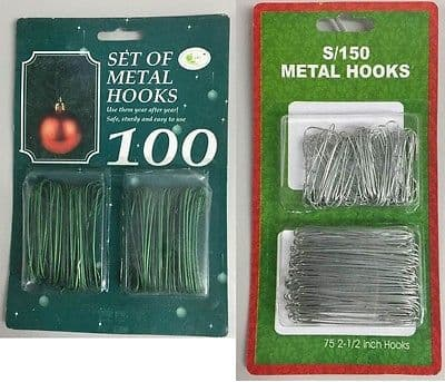 Christmas Tree Metal Hooks Bauble Hanger Pack 150 Silver/