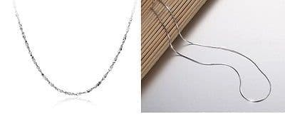 """Classic Style 925 Sterling Silver Necklace Chain 18"""""""