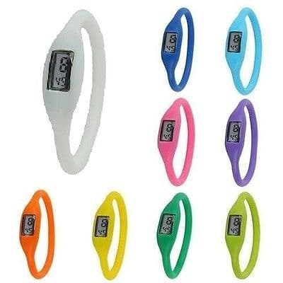 Colourful Digital Silicone Silicon Rubber Sports Bracelet Wrist Watch Gift