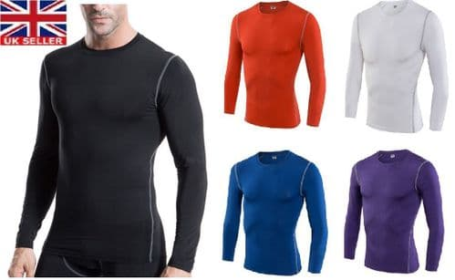 Compression Mens Long Sleeves Top Shirt Base Layer Thermal Sport Gym Cycling