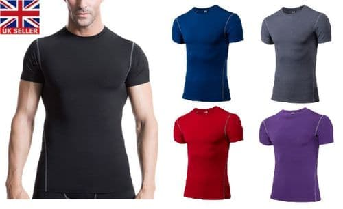 Compression Mens T-shirt Base Layer Thermal Sport Skins Under Gear Gym
