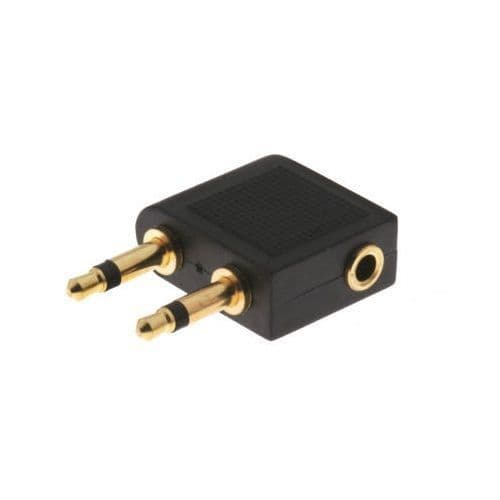 Gold Plated Airplane Headphone Adapter for 3.5mm Plug Jack Socket Converter