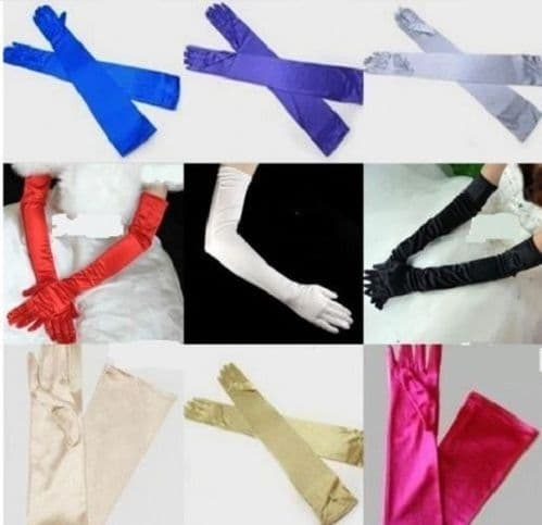 "LADIES LONG 23"" OPERA EVENING SATIN FINGER GLOVES PARTY DRESS PROM"