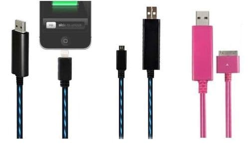 LED Light USB Data Cable For iPhone 4 4S 4G 5 5s 5C iPad 4 & Mini Micro SAMSUNG