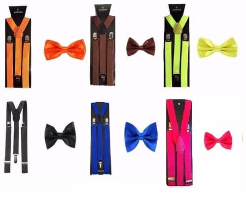 Men's Fancy Costume Matching Suspenders Braces & Pre-Tied Bow Tie Combo Sets
