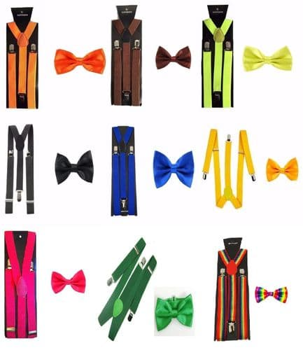 Men's Matching Suspenders Braces & Pre-Tied Bow Tie Combo Sets Fancy Costume