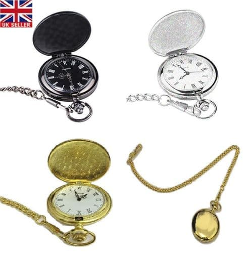 Men's Vintage Hollow Steampunk Mechanical Analog Quartz Pocket Watch Fob Gift