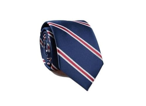 Navy Blue and Red Striped Patterned Handmade Tie King's Men UK