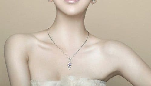 New 925 Silver Plated Diamante Necklace Gift