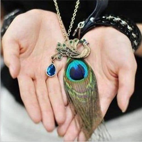 New Bronze Peacock Feather Necklace Teardrop Long Jewelry Gift