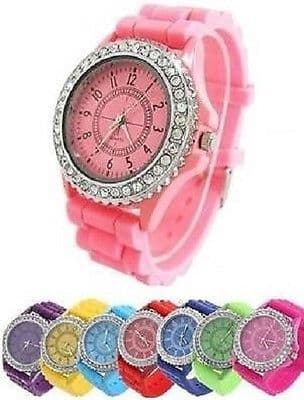 New Classic Stylish Rubber Jelly Silicone Crystal Wrist Watch Men Women Gift