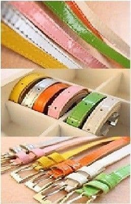 New Fashion Cute Cross Buckle Women Girl Candy Color Thin Skinny PU Leather Belt
